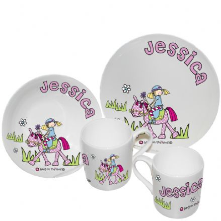 Bang On The Door Pony Girl Personalised Breakfast Set